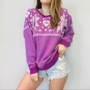 VS pink purple snowflake oversized pullover